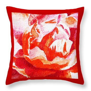 Rose Close Up Watercolor Painting Throw Pillow