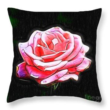 Rose Digital Throw Pillow