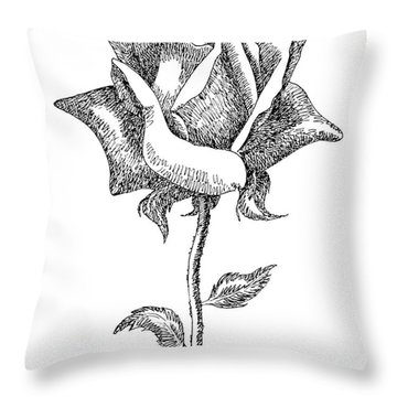 Rose Drawings Black-white 5 Throw Pillow