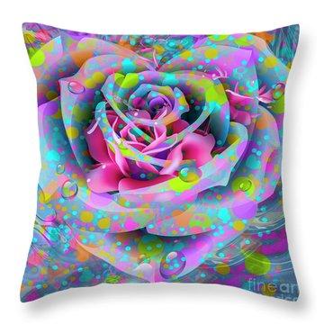 Throw Pillow featuring the digital art Rose by Eleni Mac Synodinos