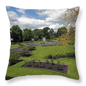 Rose Garden At Kilkenny Castle Throw Pillow by Cindy Murphy - NightVisions