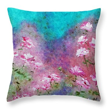 Rose Garden Throw Pillow by Claire Bull