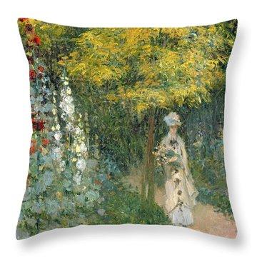 Rose Garden Throw Pillow by Claude Monet