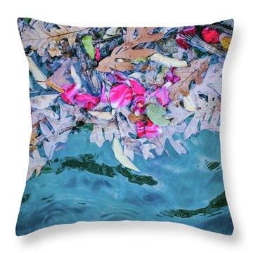 Rose Garden Fountain II Throw Pillow