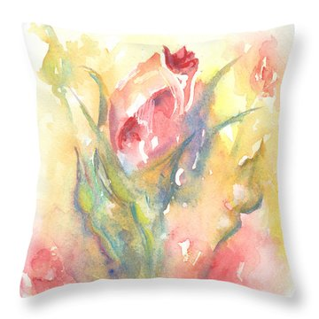 Throw Pillow featuring the painting Rose Garden One by Elizabeth Lock