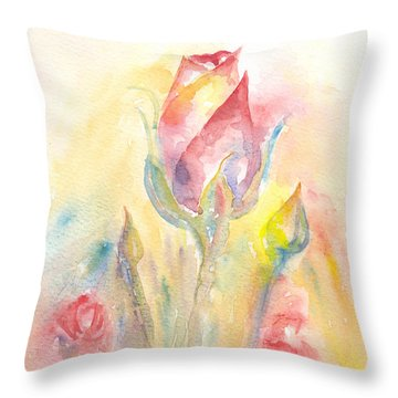 Throw Pillow featuring the painting Rose Garden Two by Elizabeth Lock