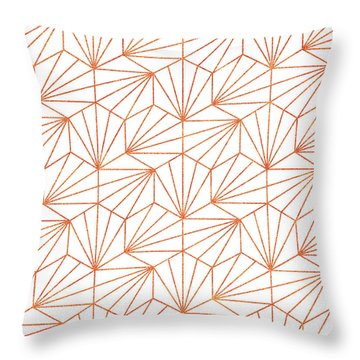 Rose Gold And White Throw Pillow