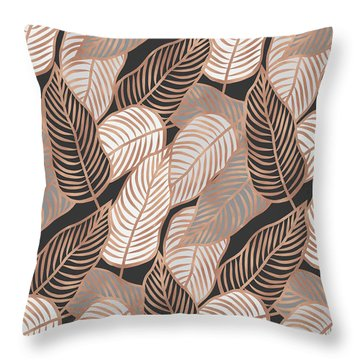Rose Gold Jungle Leaves Throw Pillow