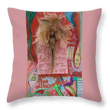 Throw Pillow featuring the painting Rose Herbal Tincture by Clarity Artists