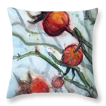 Rose Hips Abstract  Throw Pillow