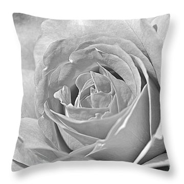 Throw Pillow featuring the photograph Rose In Black And White by Mindy Bench