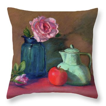 Rose In Blue Jar Throw Pillow