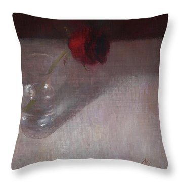 Rose In Glass Throw Pillow