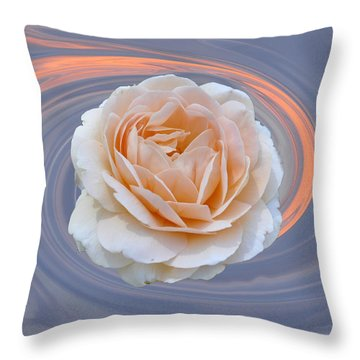 Rose In Swirl Throw Pillow