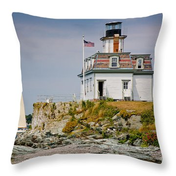 Rose Island Light Throw Pillow