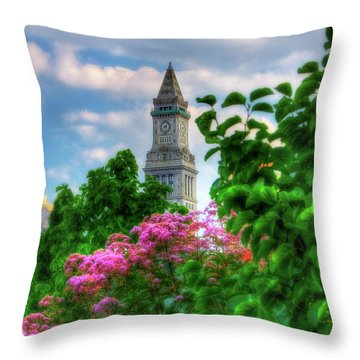 Throw Pillow featuring the photograph Rose Kennedy Greenway And Marriott Custom House - Boston by Joann Vitali