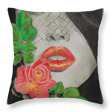 Rose Kisses 2 Throw Pillow by Quwatha Valentine