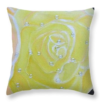 Rose Medley With Dewdrops Throw Pillow