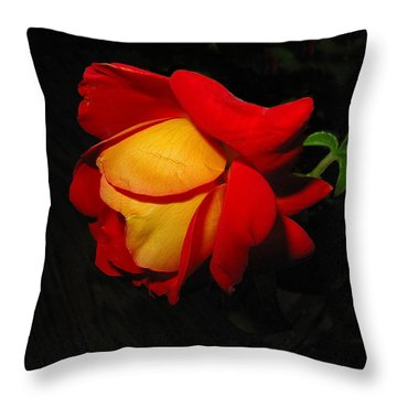 Throw Pillow featuring the photograph Rose Of Fire by Joyce Dickens