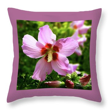 Rose Of Sharon Flowers Throw Pillow