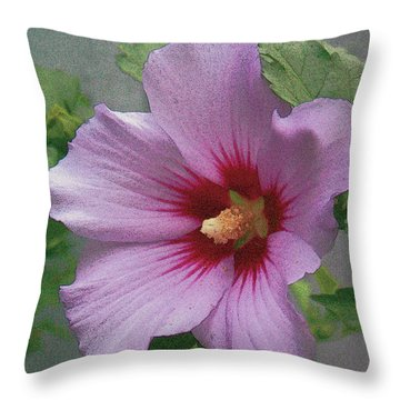 Throw Pillow featuring the painting Rose Of Sharon by John Dyess