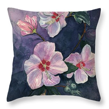 Rose Of Sharon Throw Pillow by Katherine Miller