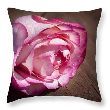 Rose On Wood Throw Pillow