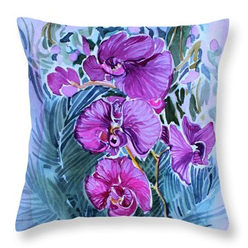 Rose Orchids Throw Pillow by Mindy Newman