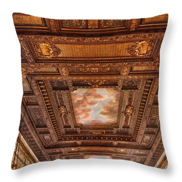 Throw Pillow featuring the photograph Rose Room Ceiling by Jessica Jenney
