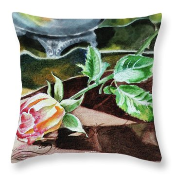 Rose Still Life Watercolor Realism  Throw Pillow