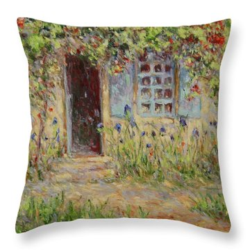 Rose Trees At The Front Of The House Throw Pillow