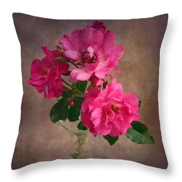 Rose Trio Still Life Throw Pillow by Louise Kumpf