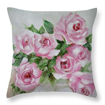 Rose Vase Throw Pillow