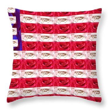Rose White And Blue Throw Pillow by Anne Cameron Cutri