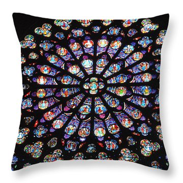Rose Window Of Notre Dame Paris Throw Pillow by Jacqueline M Lewis