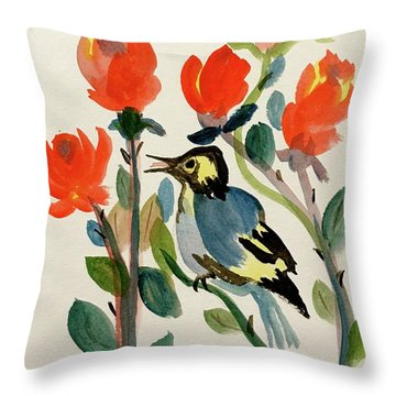 Rose With Blue Bird Throw Pillow