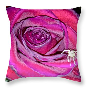 Rose With Spider Throw Pillow