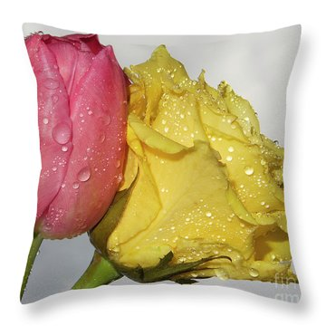 Throw Pillow featuring the photograph Rose With Tulip by Elvira Ladocki