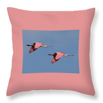 Roseate Spoonbills Throw Pillow