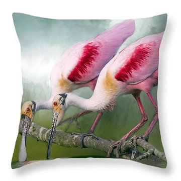 Roseate Romance Throw Pillow by Bonnie Barry