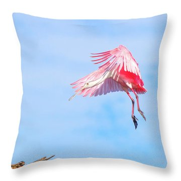 Roseate Spoonbill Final Approach Throw Pillow by Mark Andrew Thomas