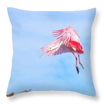 Roseate Spoonbill Final Approach Throw Pillow