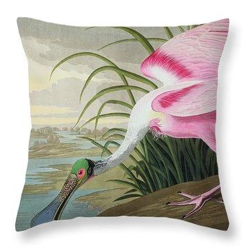 Roseate Spoonbill Throw Pillow by John James Audubon