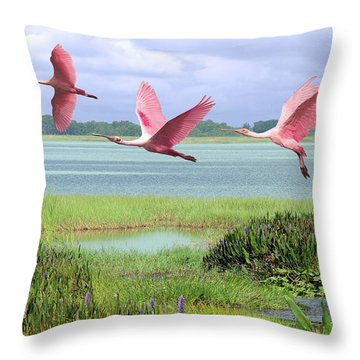 Roseate Spoonbills Of Florida Bay Throw Pillow