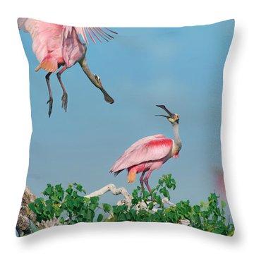 Roseate Spoonbills Throw Pillow