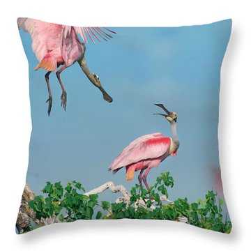 Roseate Spoonbills Throw Pillow by Tim Fitzharris