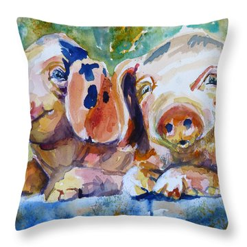 Throw Pillow featuring the painting Rosebud And Tulip by P Maure Bausch