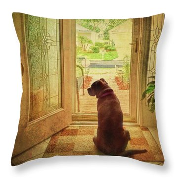 Throw Pillow featuring the photograph Rosebud At The Door by Lewis Mann