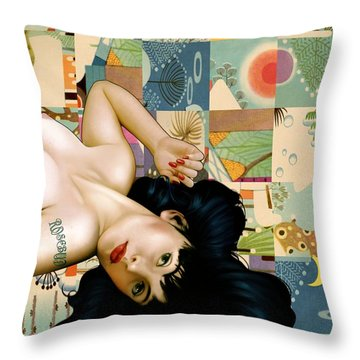 Rosebud Girl Throw Pillow by Udo Linke