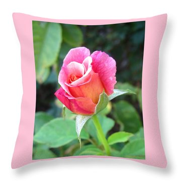 Rosebud With Border Throw Pillow